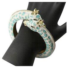 Kenneth Jay Lane Giraffe  Turquoise & White Enamel Clamp Bracelet