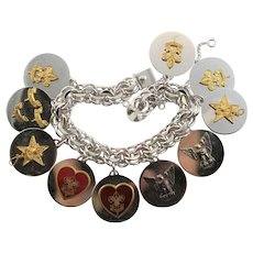 Amazing Silver & Sterling Boy Scout Disk Bracelet With Metals