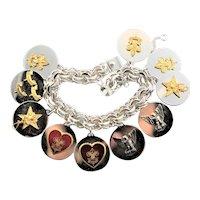 Ten Boy Scout Sterling Charm Bracelet