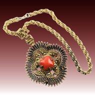 Vintage Castlecliff Famous Indian Chief Medallion Pendant Necklace