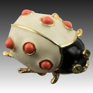 Wonderful Kenneth Jay Lane Coral Lady Bug Brooch