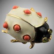 Wonderful Kenneth Jay Lane Coral Lady Bug Brooch