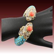 Amazing Kenneth Jay Lane Fancy Lion Koy Fish Multi Stone Bracelet