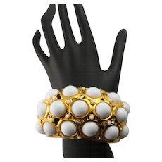 Wonderful Extra Large Kenneth Jay Lane White Cabochon Bracelet