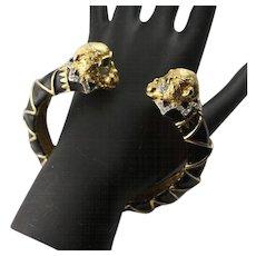 Vintage Famous Enamel & Sworvski Crystal Black Enamel & Gold Colored Monkey Bracelet