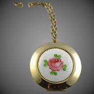Lovely Vintage Guilloche Enamel Gold Plated Locket/Pendant