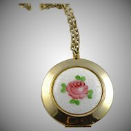 Lovely Vintage Guilloche Enamel Gold Plated Locket/Pendent