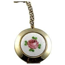 Enamel Rose Locket Gold Plate Pedant Necklace