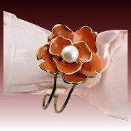 Older Kenneth Jay Lane Orange Flower Bracelet