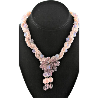 Czech Bead Wired Pink & Lavender Necklace