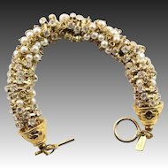 Pretty Kenneth Jay Lane Pearl & Rhinestone Bracelet