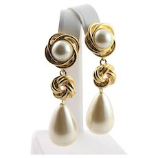 Spectacular Kenneth Jay Lane Chandelier Pearl Earrings