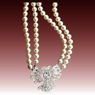 Incredible Vintage Rhinestone & Pearl Necklace