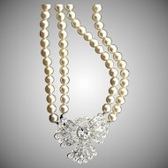 Incredible Vintage Rhinestone & Pearl Necklace