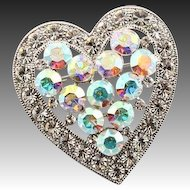 Vintage Heart Shaped Rhinestone Brooch