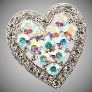 Vintage Heart Shaped Rhinestone Brooch