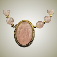 Majestic Hand Carved Bird Rose Quartz Clasp Pendant & Rose Quartz Bead Necklace