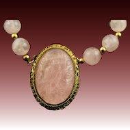 Majestic Hand Carved Bird Rose Quartz Clasp Pendant & Rose Quartz Bead Necklace