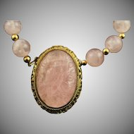 Majestic Hand Carved Bird Rose Quartz Clasp Pendent & Rose Quartz Bead Necklace