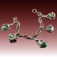 Vintage Etruscan Revival Themed Charm Bracelet