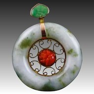 Antique Asian Made Jade Coral & 9 K Gold Pendant