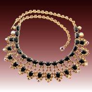 Vintage Designer Rhinestone Black & Gold Necklace