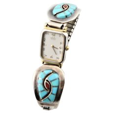 Vintage Native American Signed Watch Bracelet