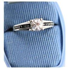 Vintage Sterling Synthetic Diamond Engagement Ring