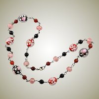 Pretty Vintage Murano Glass Flower Bead Necklace