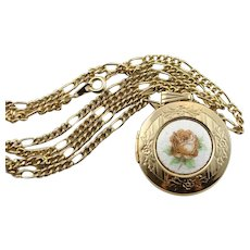 Vintage Guilloche Enamel Locket With Chain Necklace