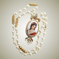 Florenza Necklace With Limoges Made In France Large Cabochon Cameo