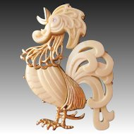 Hattie Carnegie Large White Thermoplastic Rooster Brooch/Pendant