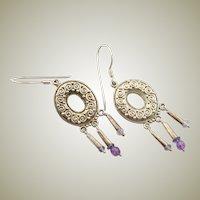 Famous Sajen Vintage Sterling & Amethyst Earrings