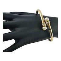 Spectacular 10K Gold White Cultured Pearl Bracelet