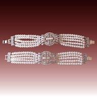 Twin Identical Faux White Pearl & Rhinestone Bracelets