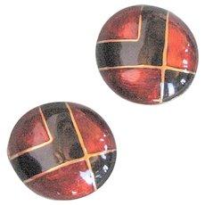 Large Button Black & Rust Enamel Clip Earrings