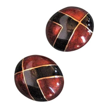 Signed Ciner Rust & Black Enamel Earrings
