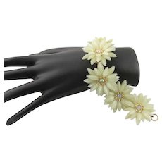 Marked Coro Yellow Plastic Flower Bracelet