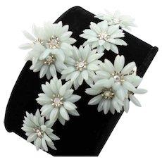 Signed Coro Plastic Flower Bracelet Set