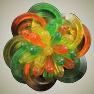 1950's Multi Colored Lucite Large Brooch
