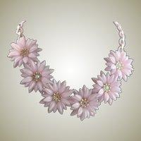 1950's Light Lavender Plastic Flower Dimensional Necklace