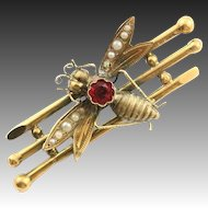 Antique French Pink Tourmaline & 18K Fly, Bug Pin