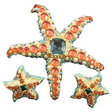 Kenneth Jay Lane Dazzling Starfish Brooch & Earrings
