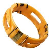 Spectacular Bakelite & Brass Bangle Brcelet