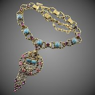 Vintage Fancy Chain & Pendant With Pink & Turquoise Rhinestones Necklace