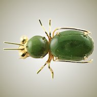 Vintage Gold Filled & Jade Bug Brooch