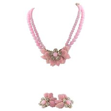 Vintage Unmarked Miriam Haskell Spectacular Necklace & Earrings In Pink