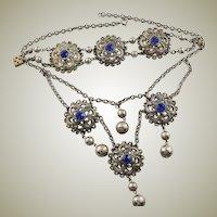 Vintage Renaissance Revival Silver Necklace & Bracelet Set