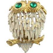 Wonderful Vintage Hobe` White & Gold Enamel Owl Brooch