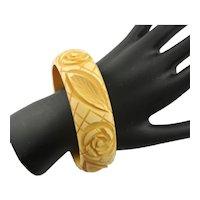 Deep Flower Carved Bakelite Bangle Bracelet